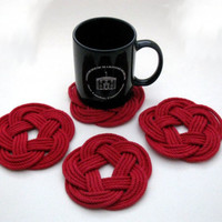 Mystic Knotwork: Red Nautical Sailor Knot Turks Head Coasters, Set of 4