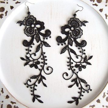 Wisteria black lace dangle earrings by StitchFromTheHeart on Etsy