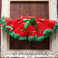 Red and green ribbon chiffon pettiskirt, petti skirt,holiday, christmas, valentines, chiffon girls skirt, toddler, baby, tutu, layered