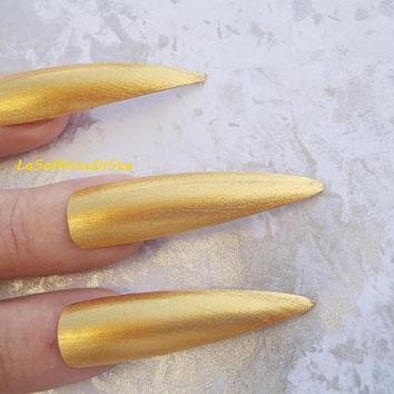 fake nails gold stiletto long nails false nails drag queenparade costume wag false tips uñas quirky cosplay sexy men pointy lasoffittadiste