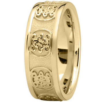 Wedding Band - Engraved Celtic Mens Wedding Band in Yellow Gold