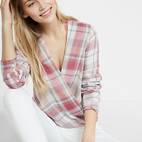 plaid surplice blouse