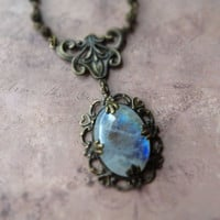 Bohemian vintage patina moonstone necklace / natural flashy rainbow moonstone, oxidized brass