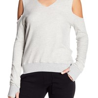 Pam & Gela | V-Neck Cold Shoulder Sweater | Nordstrom Rack