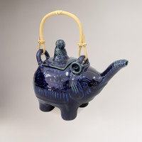 Novica Sapphire Buddha and Elephant Ceramic Teapot - World Market