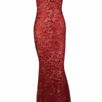 Honey Couture GRETA Red Lace & Glitter Overlay Mermaid Formal Gown Dress