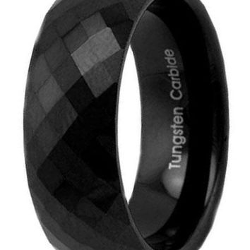CERTIFIED 8mm Diamond Faceted High Polish Black Tungsten Ring Men's Wedding Band