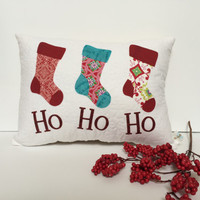 Quilted Christmas Pillow, Quilted Holiday pillow, Joy Pillow