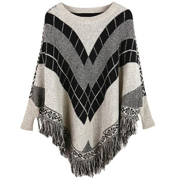 Printed Asymmetrical Fringed Pullover Sweater
