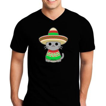 Cat with Sombrero and Poncho Adult Dark V-Neck T-Shirt by TooLoud