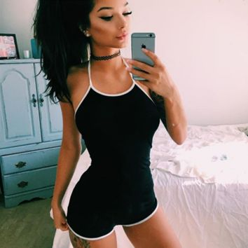 Women Casual Fashion Multicolor Bodycon Sleeveless Strap Halter Backless Romper Jumpsuit Shorts