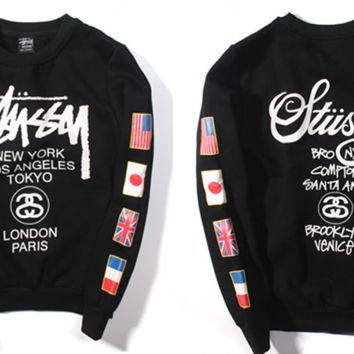 """Stussy"" Fashion Casual Male Female Loose Cotton Flag Letter Print Round Neck Long Sleeve Couple T-shirt Plus Cashmere Sweater"