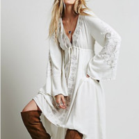 Summer Embroidered Casual Long  Dress