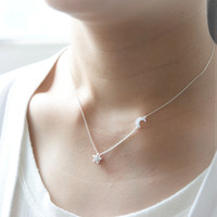 Shiny Star and Moon Necklace in silver by laonato on Etsy