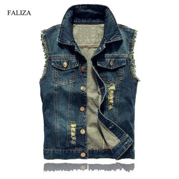 FALIZA Ripped Mens Denim Vest Male High Fashion Streetwear Men Casual Brand Hip Hop Sleeveless Jacket Male Tank Top 6XL SM-MJ-G