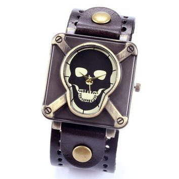 Retro Genuine Leather Vintage Skull Skeleton Bracelet Wrist Watch Punk Men Boy - Brown