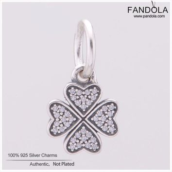 Genuine FANDOLA DIY Charms Fit Beads Bracelet 925 Sterling Silver Symbol of Lucky in Love Clover Beads Jewelry Making Berloque