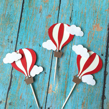 Hot Air balloon cupcake toppers- Hot air balloon birthday, Hot air balloon food pick, First Birthday, baby Shower