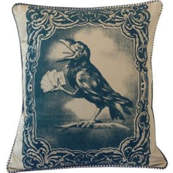 Crow Card Player Pillow