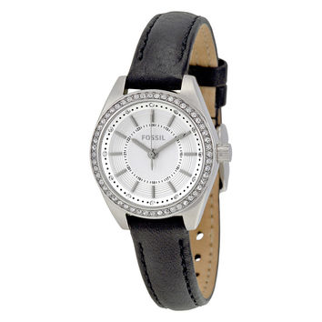 FOSSIL® Black Women's Leather Quartz Watch with Crystals