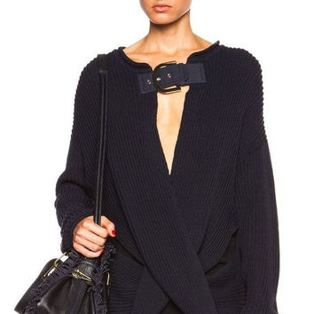 STELLA MCCARTNEY Rib Knit Buckled Sweater, 38 / US 2