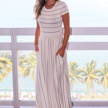 Grey Stripe Ivory Short Sleeve Maxi Dress
