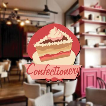 cik1116 Full Color Wall decal Vintage candy confectionery shop window snack restaurant