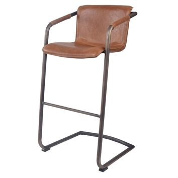 Indy PU Leather Bar Stool, Antique Cigar Brown (Set of 2)