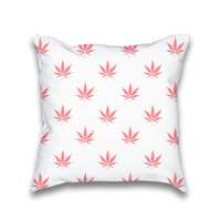 Vintage Coral Peach Cannabis Print Throw Pillow