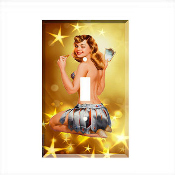 Light Switch Cover - Light Switch Plate  Pulp  Pin Up Girl  in Gold Stars