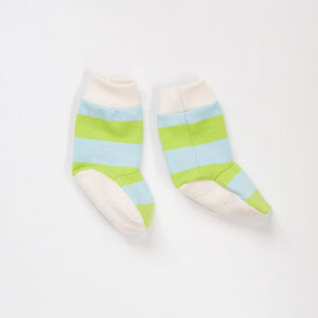 organic baby booties | blue and green striped unisex gender-neutral baby legwarmer style booties for boys or girls 0-3 3-6 6-12 months