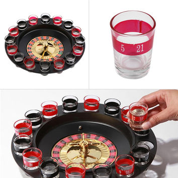 Shot Glass Roulette Set Novelty Drinking Game with 16 Shot Glasses Party Game