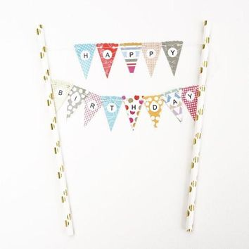 Rainbow Dot Pattern Gold Happy Birthday Cake Topper Gold Foil Mini Flag Garland Paper Straws