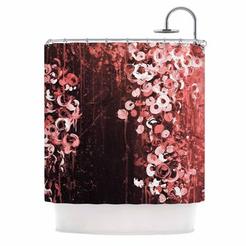 "Ebi Emporium ""THE DARK GARDEN 4"" Red Black Abstract Floral Painting Mixed Media Shower Curtain"