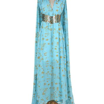 8050 - Game of Thrones Daenerys Targaryen Cosplay Blue Qarth Party Dress (2) M
