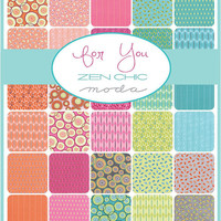 "For You Layer Cake by Zen Chic for Moda Fabrics, 10"" squares"