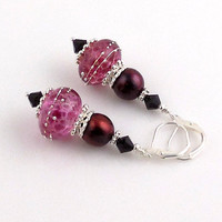 Silvered Cranberry Lampwork Earrings, Dangle Earrings, Beaded Earrings, Women's Jewelry, Gifts, Holiday Jewelry