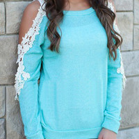 Blue Crochet Lace Detial Cold Shoulder Long Sleeve T-shirt