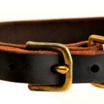 "Dean and Tyler ""B and B"", Basic Leather Dog Collar With Solid Brass Hardware - Brown - Size 16-Inch by 1-Inch - Fits Neck 14-Inch to 18-Inch"