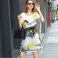 White Fish Print Short-Sleeve Tie Waisted Asymmetrical Dress