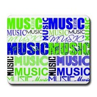 music text green blue white graphic Mousepad> music repeate blue green black > Musician Events