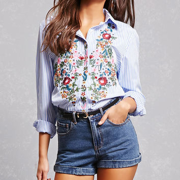 Embroidered Floral Stripe Shirt