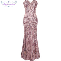 Angel-fashions vestido de festa Vintage 1920S Flapper Sequined Mermaid Long Evening Dress Abendkleid Pink 212