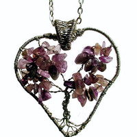 Wire Wrapped Tree of Life Heart Shaped Pendant /Necklace with Amethyst Chips, February Birthstone