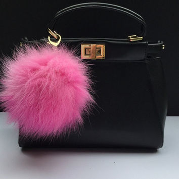 Large size Pompon bag charm pendant Fox Fur Pom Pom keychain in deep gradient hot pink color tone