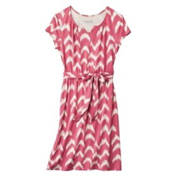 Cherokee® Women's Belted Chevron Knit Dress - Coral
