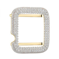 Iced Out 14k Gold Finish Silver 38mm Apple Watch Series1 Princess Cut Bezel