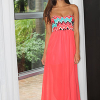 Wave Print Strapless Chiffon Maxi Dress