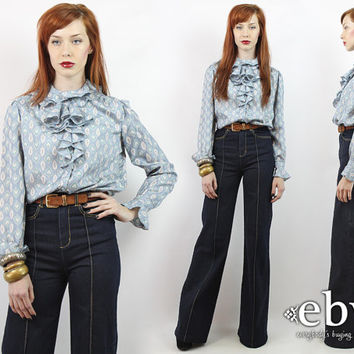 Vintage 70s Blue Paisley Blouse M L Button Up Blouse Secretary Blouse Button Down Blouse Ruffled Blouse Tuxedo Blouse Ruffle Blouse