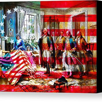 The Birth Of Old Glory With Flag And The Declaration Of Independence 20150710 Canvas Print